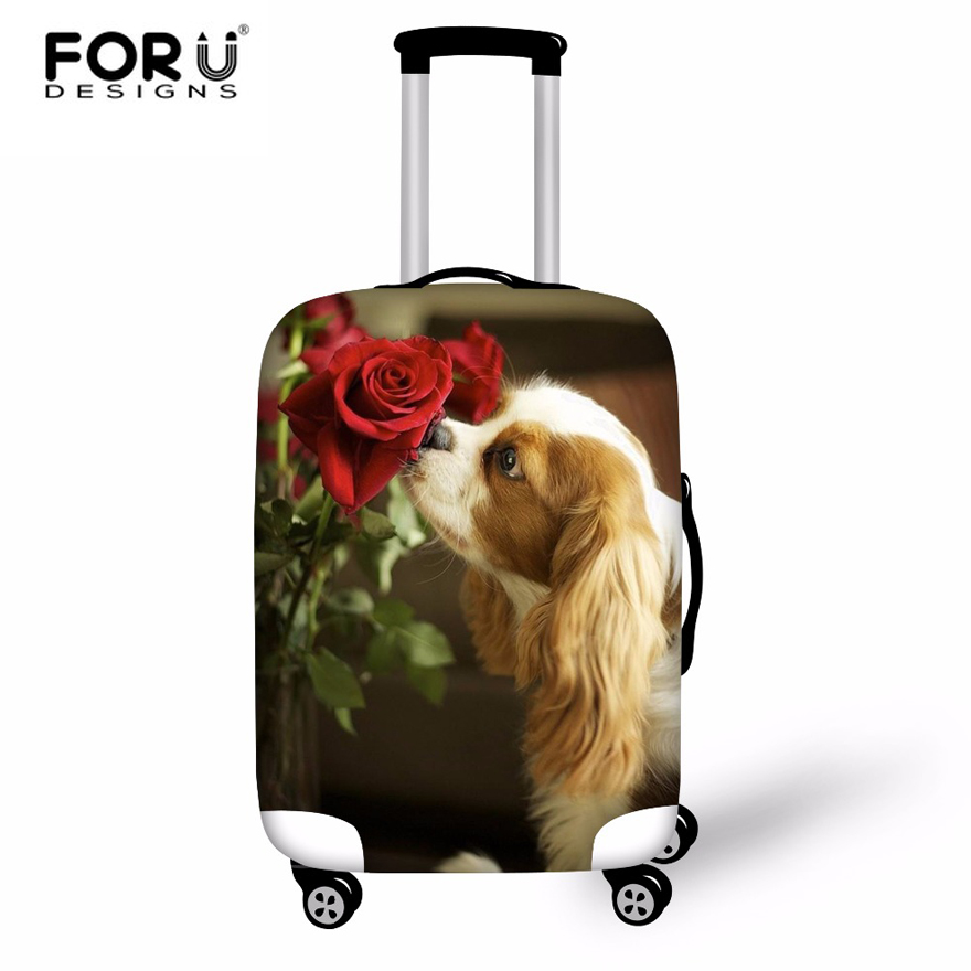 FORUDESIGNS Cute 3D Dog Cat Waterproof Travel Suitcase Cover Elastic Luggage Covers For 18 20 22 24 26 28 30 Inch Trolley Case