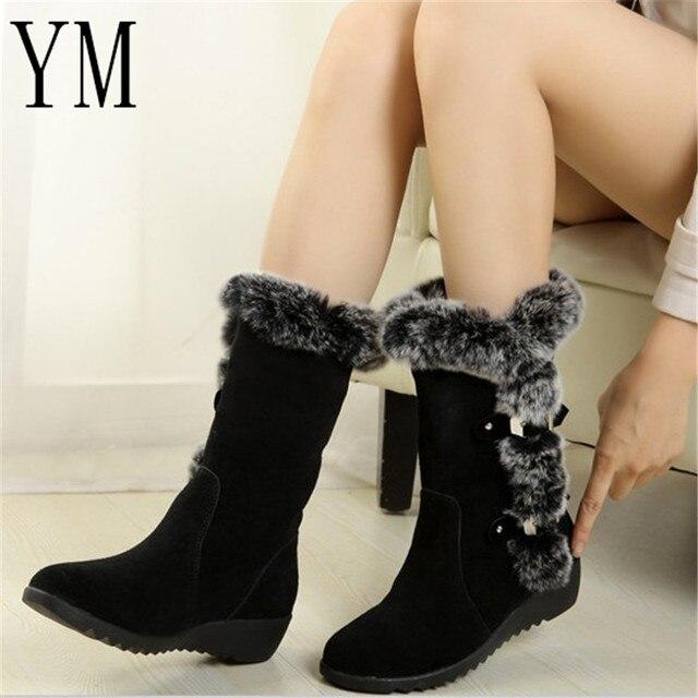 2018 nuevas botas de mujer calientes otoño Flock invierno señoras moda botas de nieve zapatos muslo alto gamuza media pantorrilla botas