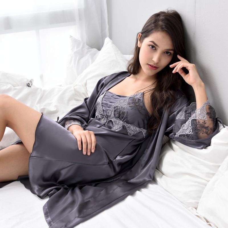 Xifenni Robe Sets Female Sexy Satin Silk Sleepwear Women Lace Embroidery Faux Silk Sleeping Gown Two Piece Bathrobes X9223-in Robe & Gown Sets from Underwear & Sleepwears
