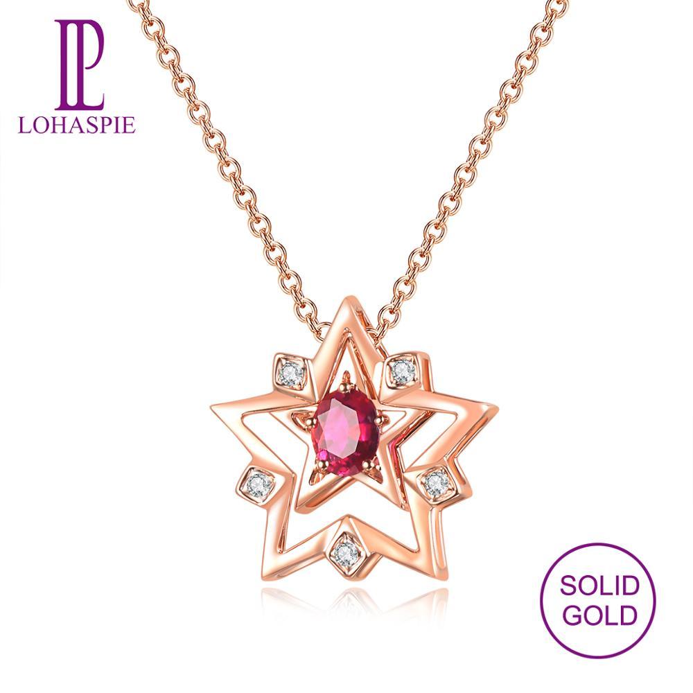 7daff9de6933 Cheap LP rubí Natural diamante dos wearings colgante sólido 18 K oro rosa  de piedras preciosas