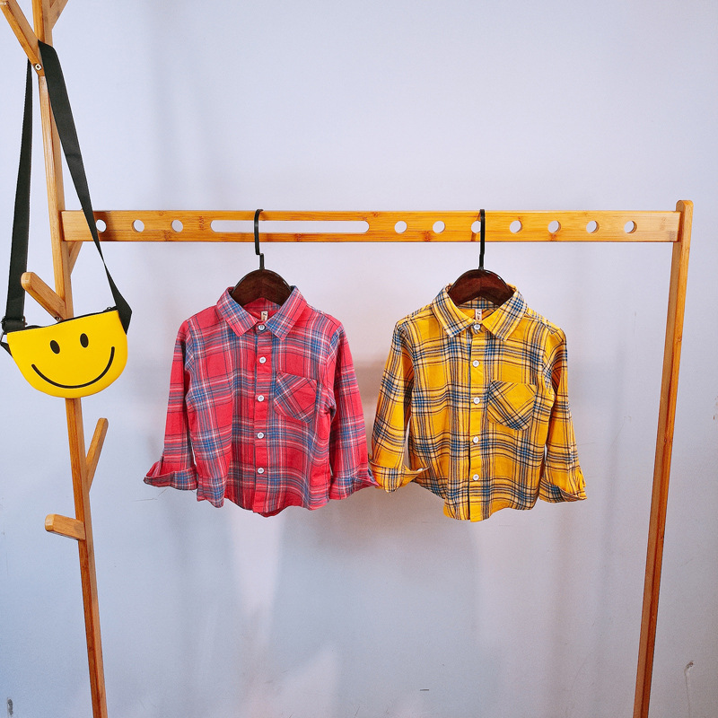 New Baby Boy Shirt Spring 2019 New Soft Pink Plaid Toddler Shirts for Boys Cotton Long Sleeve Children's Blouse Cardigan 2-6Y