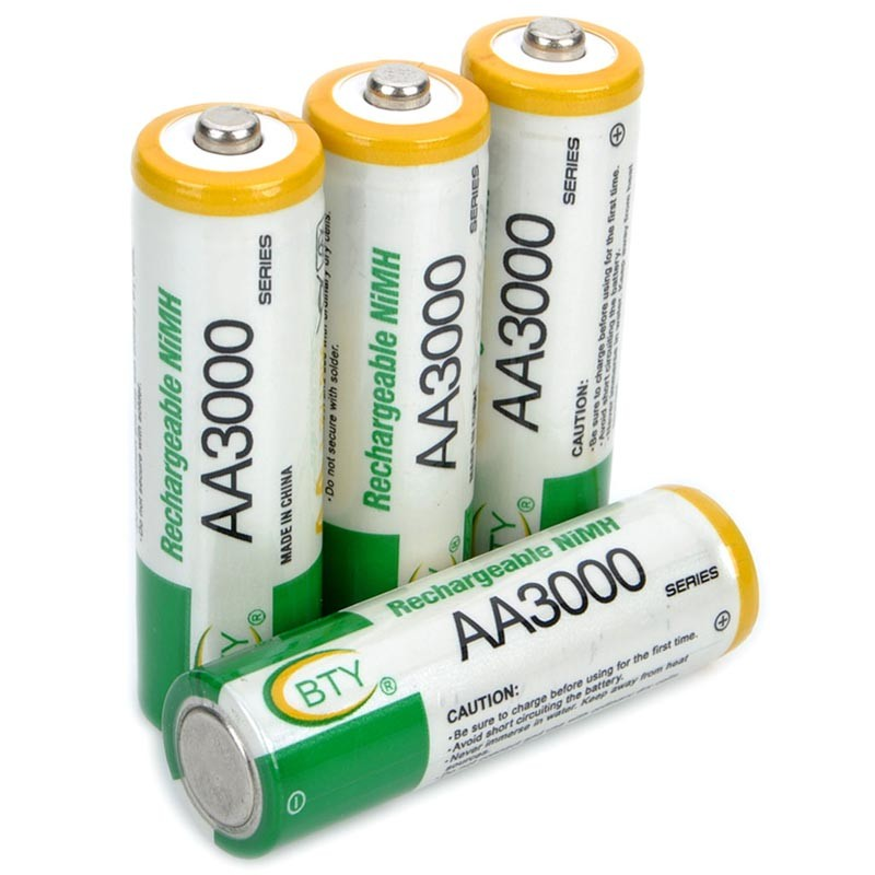 4 PCS/ Lot BTY Rechargeable 1.2V 3000mAh Ni-MH AA Batteries NiMH AA Battery For Flashlights, Toys And Electronic Devices