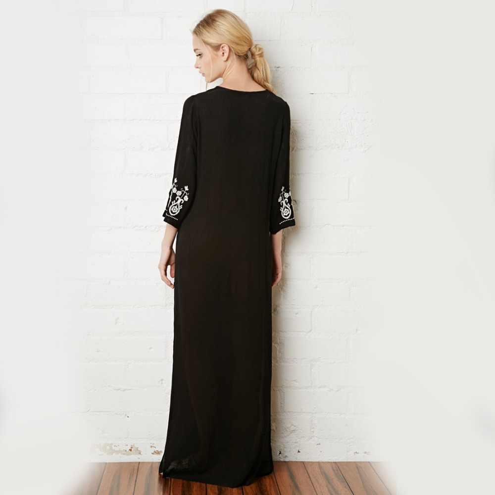 890d7fb02a ... Khale Yose Floral Embroidery Dress V-Neck Black Vintage Maxi Dresses  Cotton Holiday Boho Chic ...