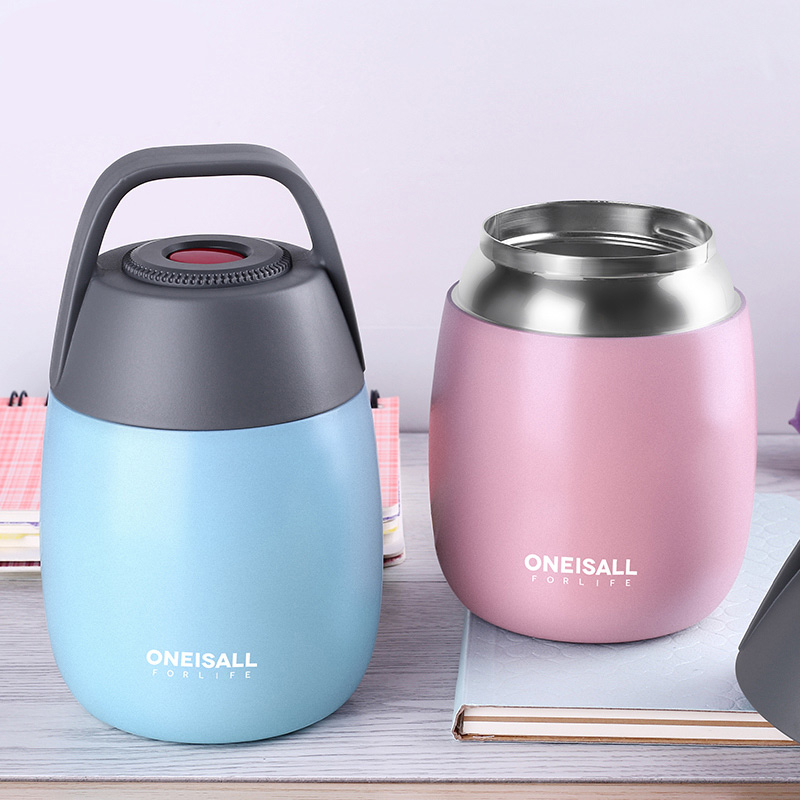 SUS304 Thermos For Food 450ml Food Container Braised Beaker Thermal Stew Pot Insulation Soup Students Lunch Box With Sleeve Bag