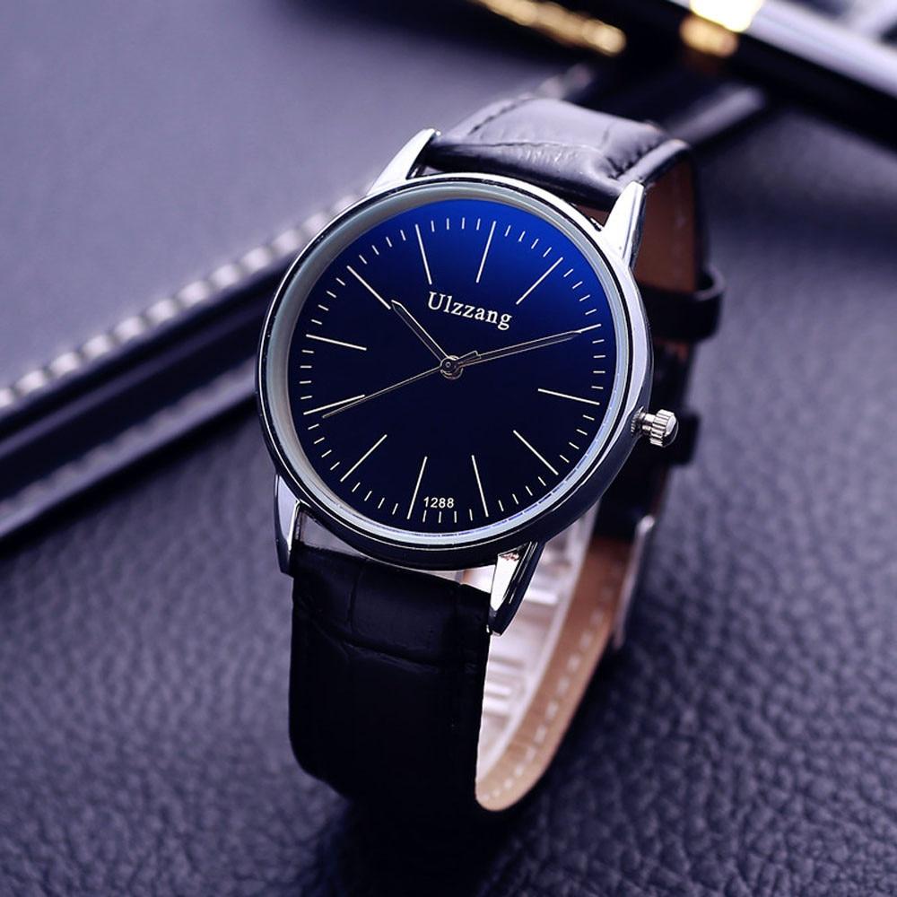 Эксклюзивная Модная Искусственная Кожа Мужские Blue Ray Стекло Кварцевые Аналоговые Часы Бесплатная Доставка