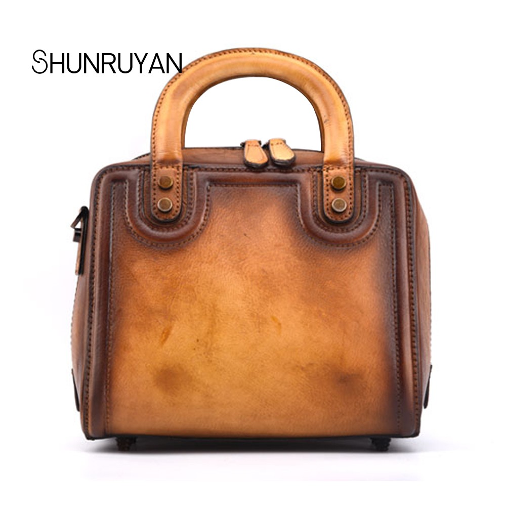 SHUNRUYAN woman handbags genuine leather cowhide totes female classic retro shoulder crossbody bags Feminine messenger bagSHUNRUYAN woman handbags genuine leather cowhide totes female classic retro shoulder crossbody bags Feminine messenger bag