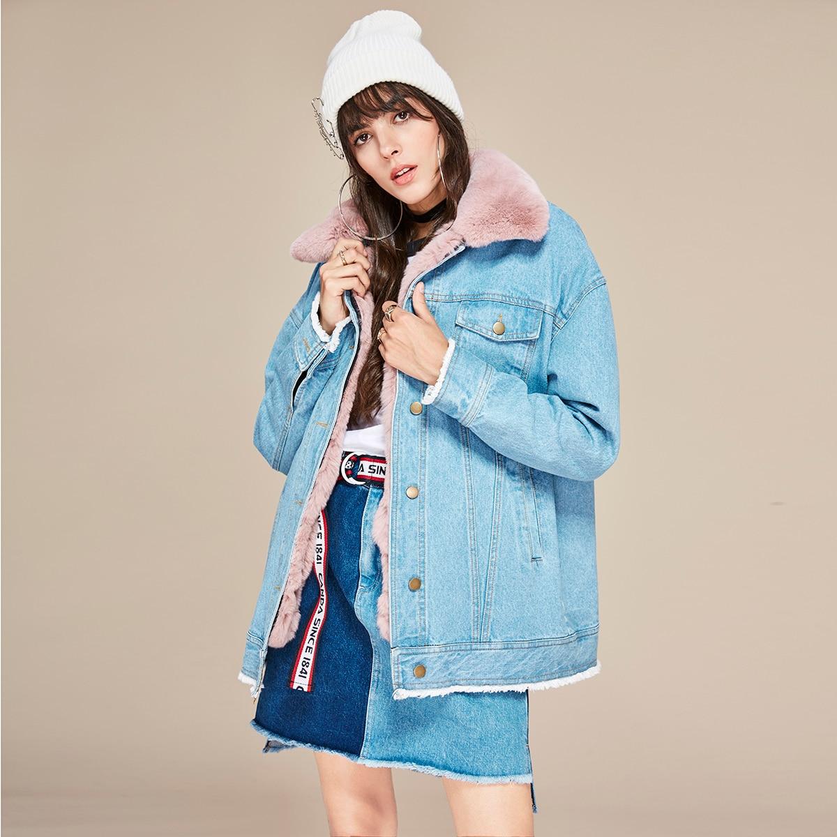 Femmes Amovible D'hiver Et Réel Rue Doublure color 2 De High 1 New Col Color Fashion Oversize Denim color Veste Lapin Fourrure 3 80xtwn7