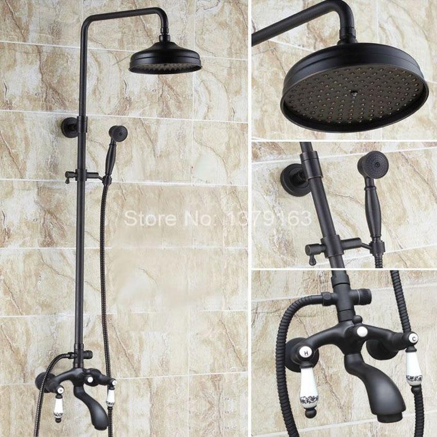 Black Oil Rubbed Bronze Wall Mounted Bathroom 8 Inch Rainfall Shower Faucet Set Bath Tub Water Tap Dual Ceramics Handles ahg131