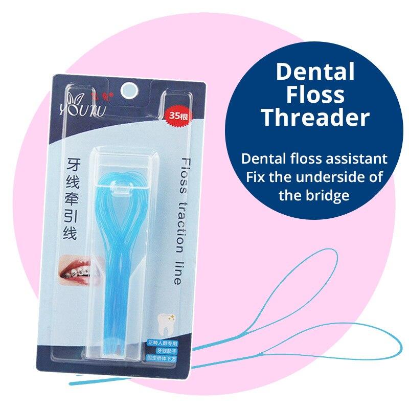 35 Zählt/box Zahnseide Einfädler Für Kieferorthopädische Oral Hygiene Fit In Klammern Brücken Implantate Und Crown Tiefe Sauber Dental Care Dental Flosser