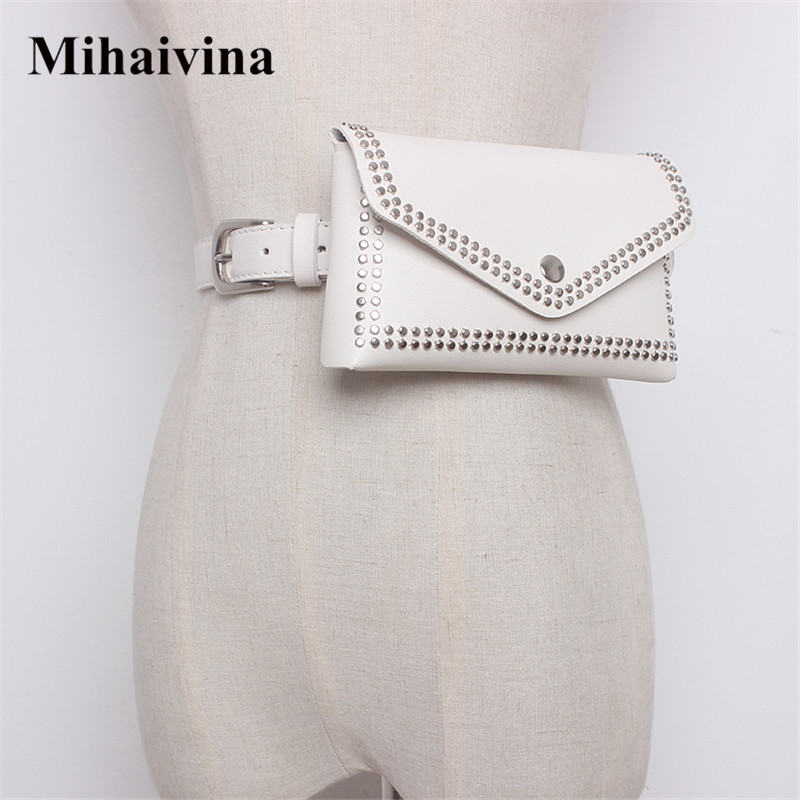 Mihaivina Women Rivet Waist Belt Pack Casual Waist Bag PU Leather Belt Bags Travel Belt Wallets Fanny Bags Ladies Fit iphone8/+