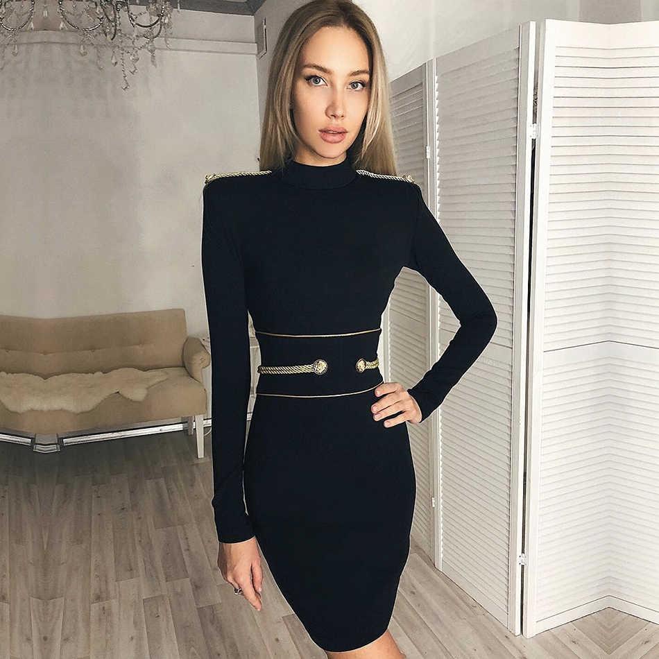 Adyce 2019 חדש החורף שחור תחבושת שמלת נשים סקסי ארוך שרוול מיני מועדון שמלת Vestidos אלגנטי סלבריטאים ערב המפלגה שמלה