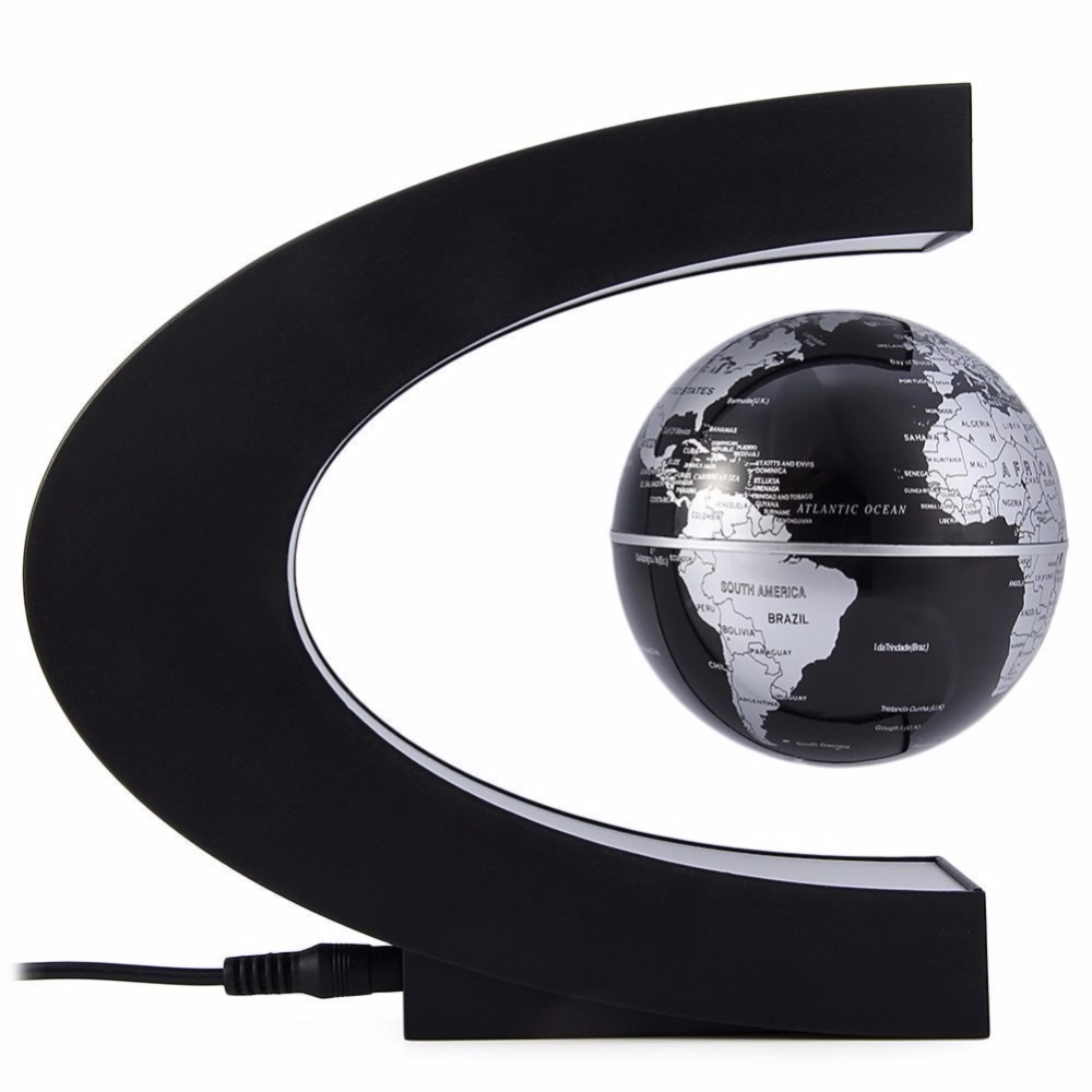 Magnetic Levitation Floating World Map Globe C Shape with LED Light Lamp Base Anti Gravity for Kids Education Teaching Demo New