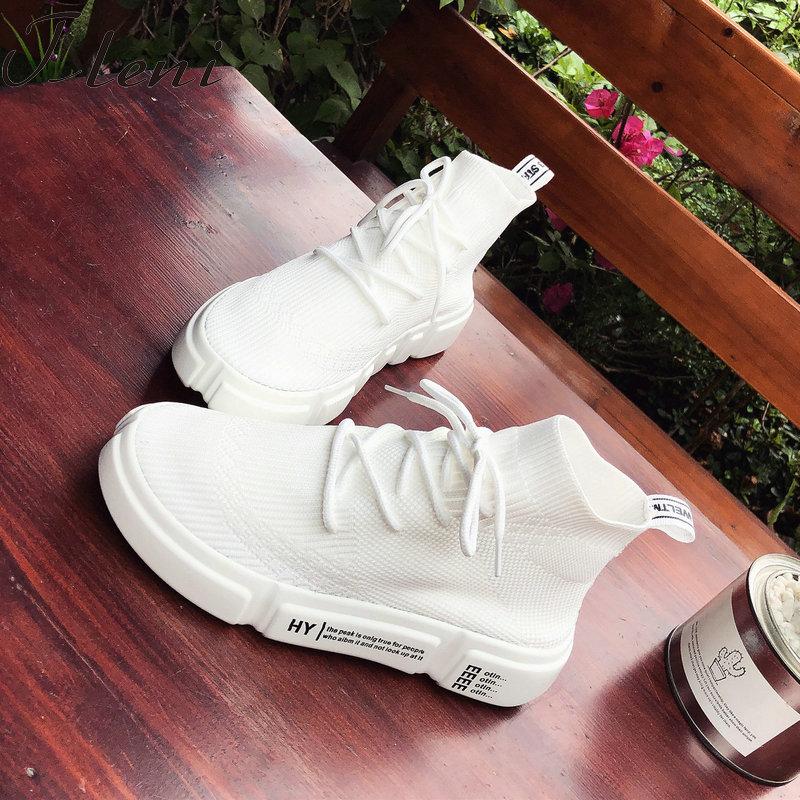 Tleni Socks Sneakers Sport-Shoes Health Walking Running Women Deportivas White Mujer