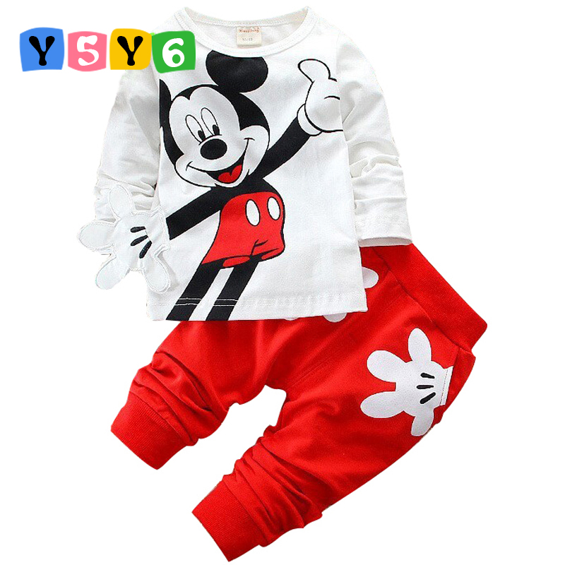 2017 Boys&Girls Cotton Spring sport suit Kids Mickey Minnie Clothing set Kids fashion clothes baby boys&Girls cartoon set boys girls clothing sets children cotton sport suit kids mickey minnie cartoon t shirt and pants set baby kids fashion clothes