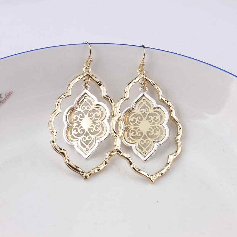 ZWPON 2018 New Two Tone Arabesque Gold Filigree Teardrop Dangle Earrings for Women Fashion Hollow Flower Earrings Wholesale