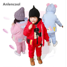 Anlencool Children's wear baby plus velvet thickening set for boys and girls winter wear baby children's 3-piece clothing set