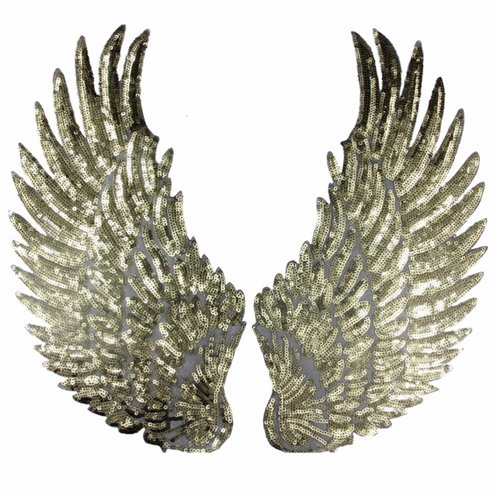 1 Pair Sewing Sequins Patch DIY Angel Wings Patches For Kids Clothes Sew on Embroidered Patch