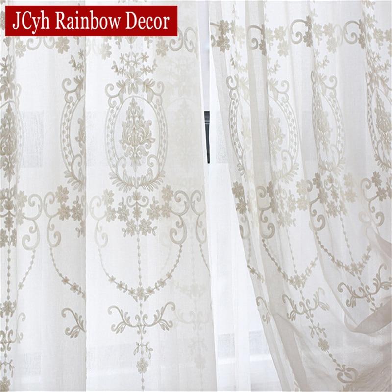 Gestickte weiße Tüll Vorhänge für Wohnzimmer Europäischen Voile Gardinen für Fenster Schlafzimmer Spitze Vorhänge Stoffe Vorhänge
