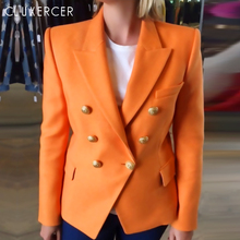 Orange Blazer Femme Office Formal Double Breasted Buttons Blazer Fashion Elegant Autumn Long Sleeve Notched Feminino Blazer