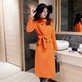 Papaya leche 2016 primavera nueva costura en el largo abrigo de lana gruesa delgada