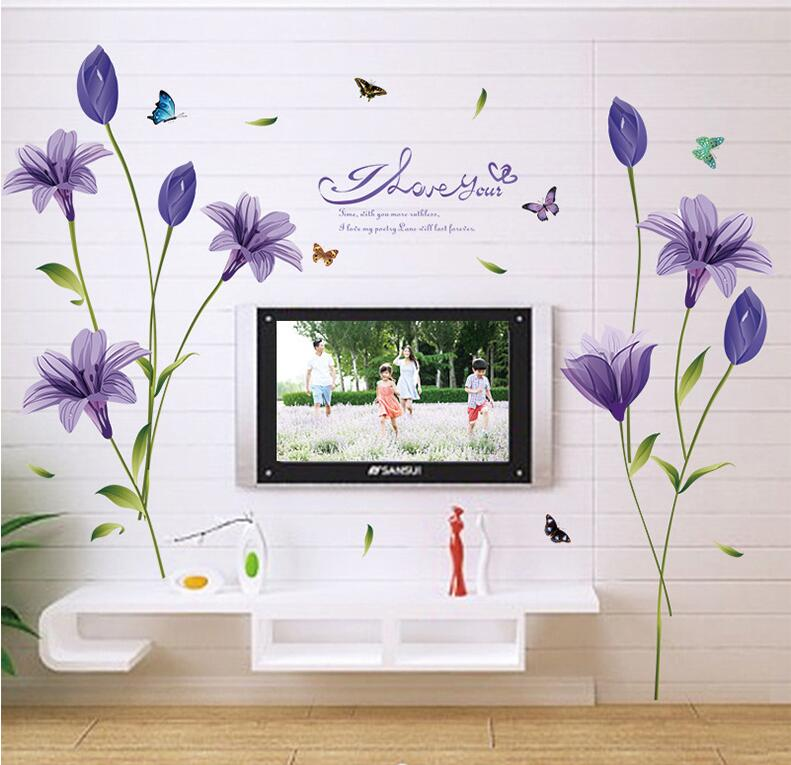 Purple Pollen Removable Wall Art Decal Sticker Diy Home: Aliexpress.com : Buy New Fashion Purple Tulips Flowers