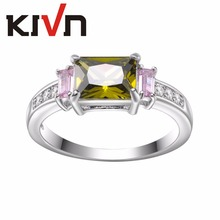 KIVN Fashion Jewelry Princess CZ Cubic Zirconia Bridal Wedding Engagement Rings for Women Mothers Day Birthday Christmas Gifts