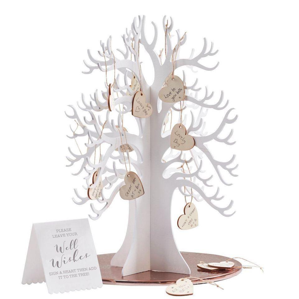 3D Souhaitant Arbre & Coeur Alternatives Blanc Mariage Livre D'or Pour Signe D'invité, rustique 3D Livre D'or Mariage Idées Décoration Carte De Mariage