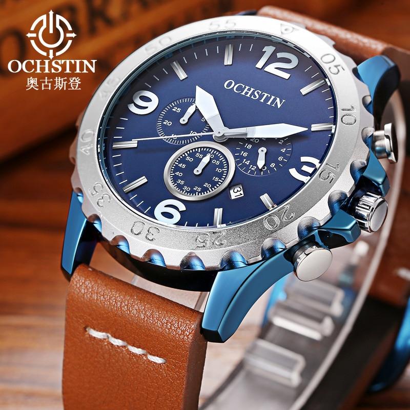 High Quality Casual Fashion Men Watches Luxury Brand OCHSTIN Leather Strap Men Quartz Wristwatch Relogios Masculino Montre Homme 2017 high quaitily casual fashion 014