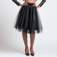 Elegant Black Knee Length Solid Color Sequined Tulle Skirts Women 2017 Elastic Female Maxi Skirt New