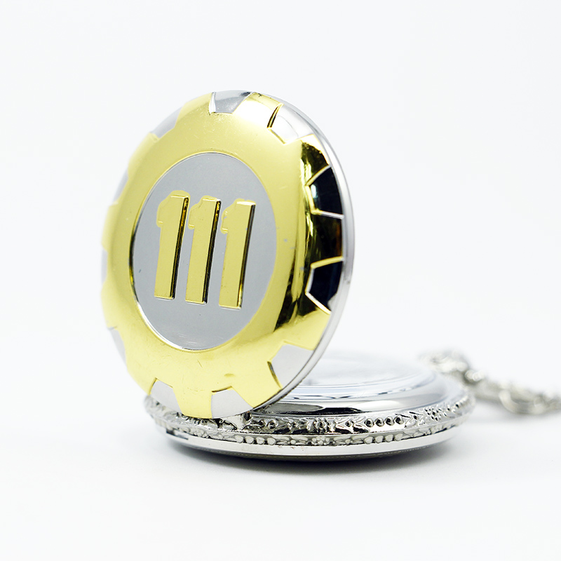 New Fashion Silver Gold Game Fallout 111 Quartz Pocket Watch Analog Pendant Necklace Mens Watches Womens Boy Gift