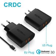 CRDC Usb Chargeur 36 W Double Charge Rapide 3.0 Mobile Téléphone mur Chargeur pour iPhone Samsung S8 S7 6 Xiaomi et Plus, QC2.0 Compatible
