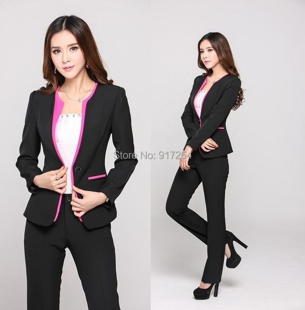 2015 nueva moda delgado otoño invierno Patchwork pantalones trajes de  negocios Blazer y pantalones para Office 1da98fa030ca