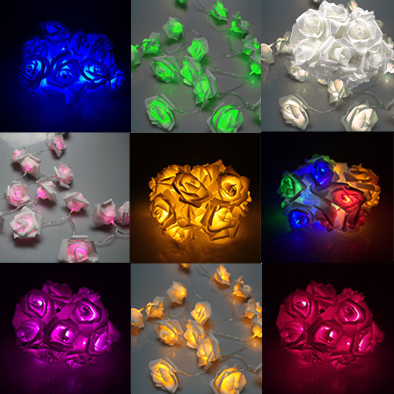 Rose Flower Decoration Lights 20LED Fairy String Cable Battery Bedroom Indoor for Wedding Valentines Day Christmas Party ALI88