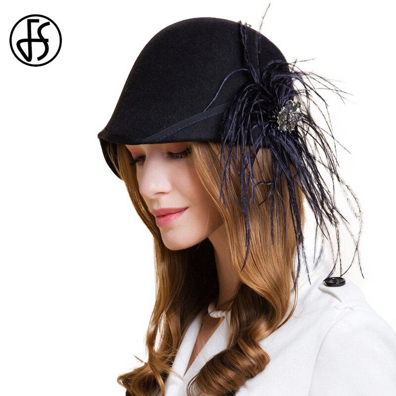 FS Black Wide Brim Fedora 100% Australia Wool Hats For Winter Women Felt  Vintage Formal e511f181513a