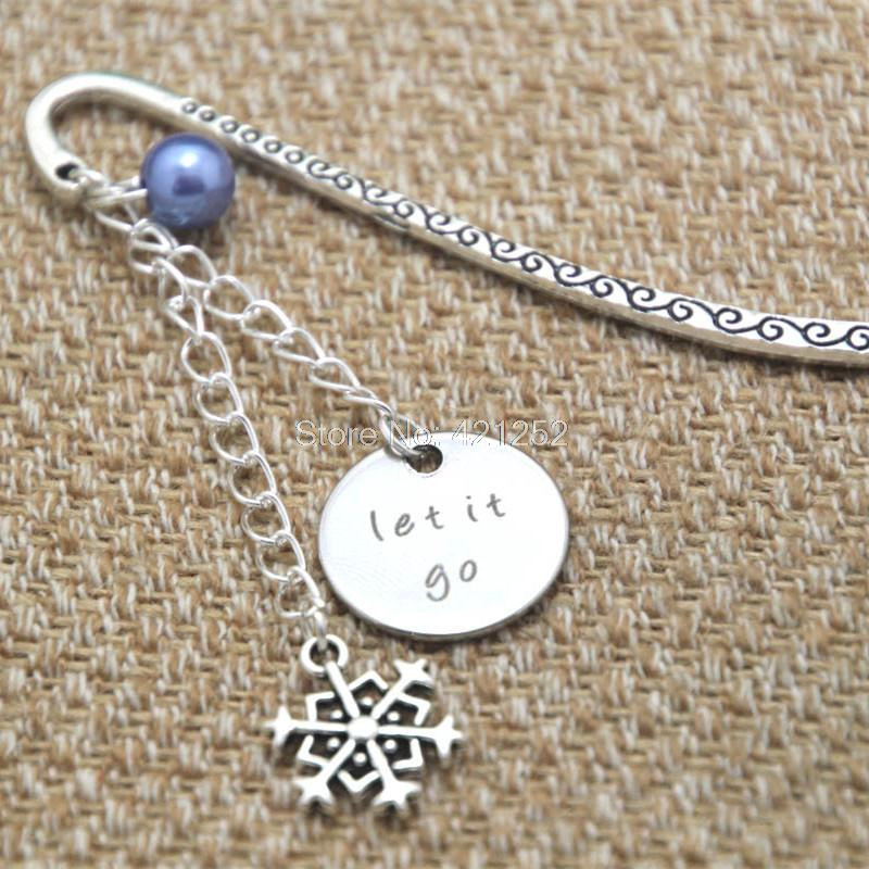 12pcs Let It Go gift bookmark Big snowflake charm Elements Crystal bookmark