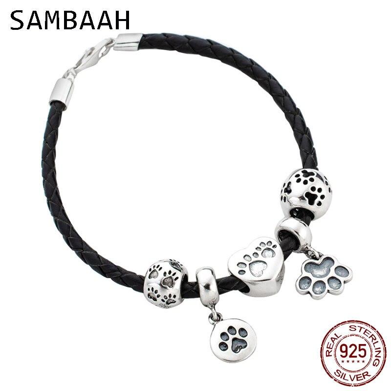 Sambaah 3mm chaîne en cuir tressé italien Bracelet avec 925 en argent Sterling pour animaux de compagnie chiens patte impression perles breloque Bracelet à bricoler soi-même