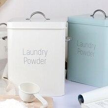 Piękne malowanie proszkowe metalowe cynkowe pudełka do prania w proszku z szufelką