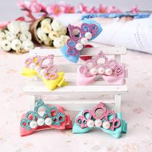 Bow Hair Clips for Girl Princess Crown Pearl Hairpins Hair Accessories Headwear Headdress lacos de cabelo para meninas kid 11.11