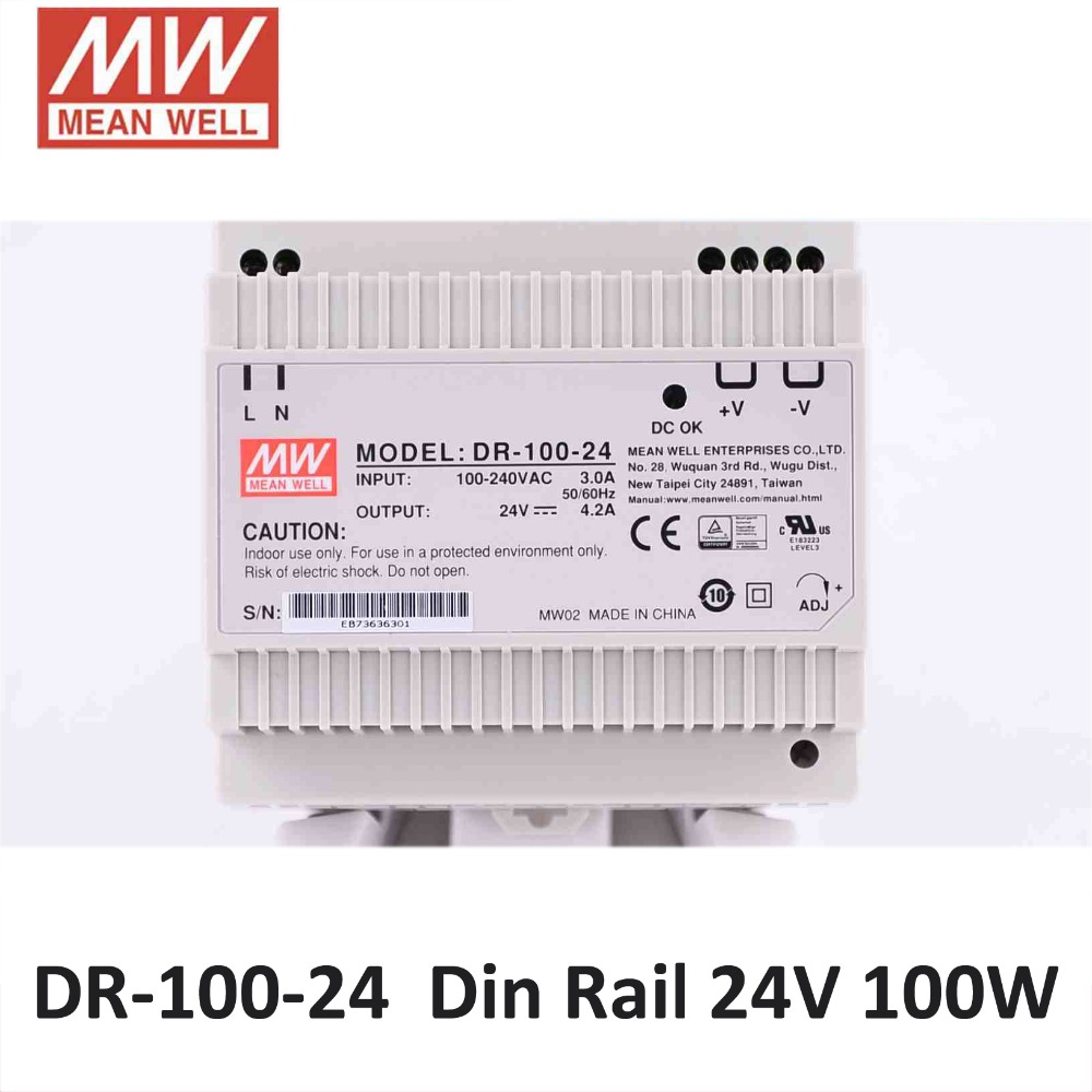 Genuine Meanwell DR 100 24 AC DC Single Output 100W 24V 4 2A Industrial DIN Rail