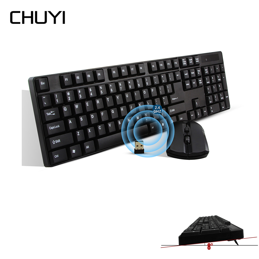 2.4Ghz Wireless Keyboard Mouse Combo Black Gaming teclado inalambrico Computer Keyboard for PC Desktop Laptop Windows XP/7/8/10 цена