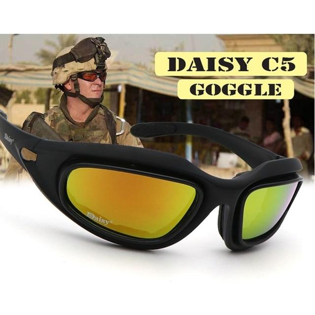 acfabe9c99da0 Hunting Daisy C5 Desert Storm Sunglasses 4 Lenses Goggles Tactical Eyewear  Cycling Riding Eye Protection