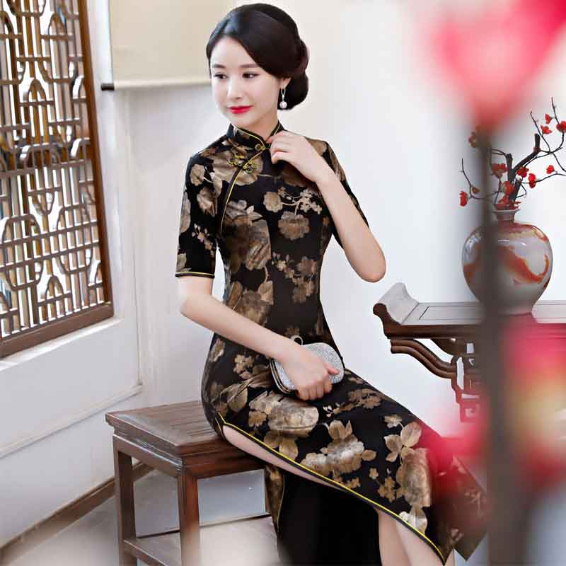 <font><b>chinese</b></font> traditional <font><b>dress</b></font> short sleeve red black autumn winter cheongsam traditional China <font><b>dresses</b></font> for women <font><b>sex</b></font> qipao casual image