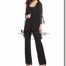 Black Chiffon 3 pieces Mother of the bride Trousers set pants suit dresses with jacket