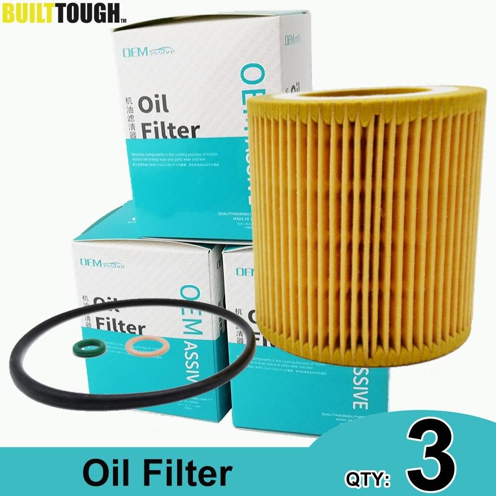 QTY 3, Oil Filters 11427541827 For BMW E61 E65 E66 E81 E84 E85 E89 E90 E92 F01 F04 F06 F10 F15 F20 F32 F34 F80 F86 11428683196
