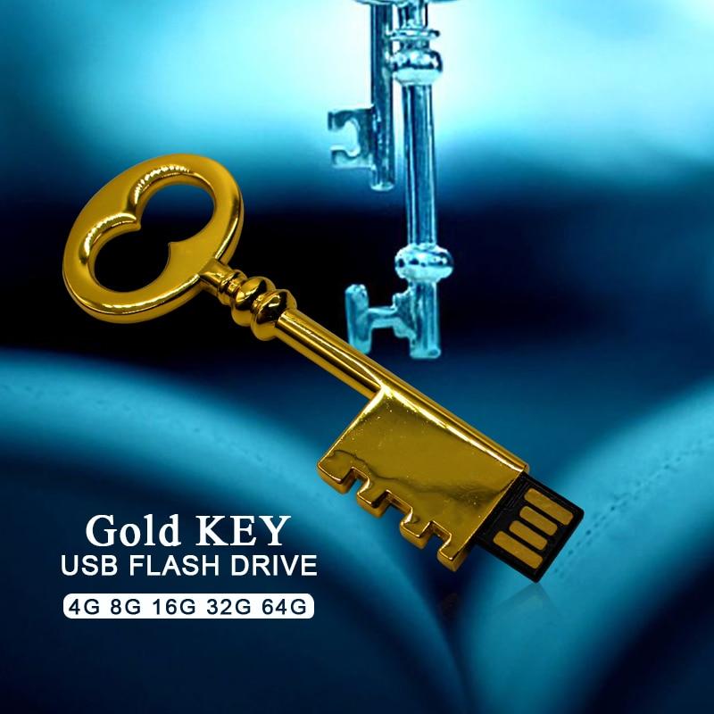 Reboto Gold Key Usb Flash Drive 4gb 8gb 16gb 32gb 64gb Gift Pen Drive Creative Usb Stick Metal Pendrive Heart-shaped U Disk
