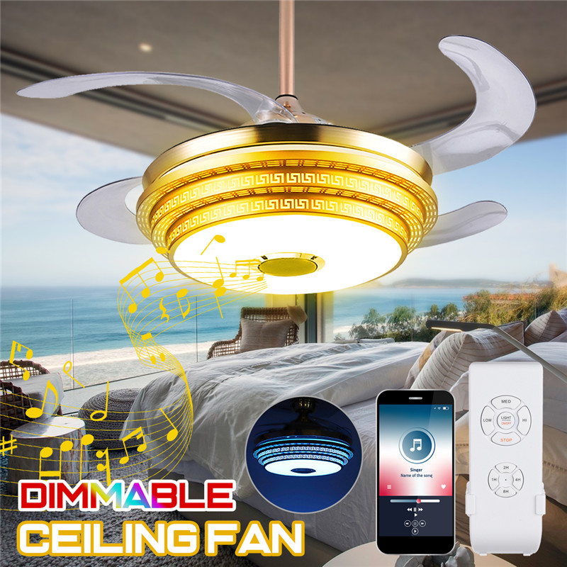 42 Modern Bluetooth Ceiling Fan Light Remote Music: Art Deco LED Ceiling Fans Light Trendy RGB Color Changing