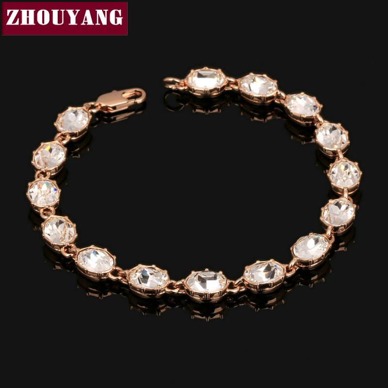 ZHOUYANG Top Quality ZYH147 Simple And Noble Rose Gold Color Bracelet Jewelry Austrian Crystals Wholesale все цены