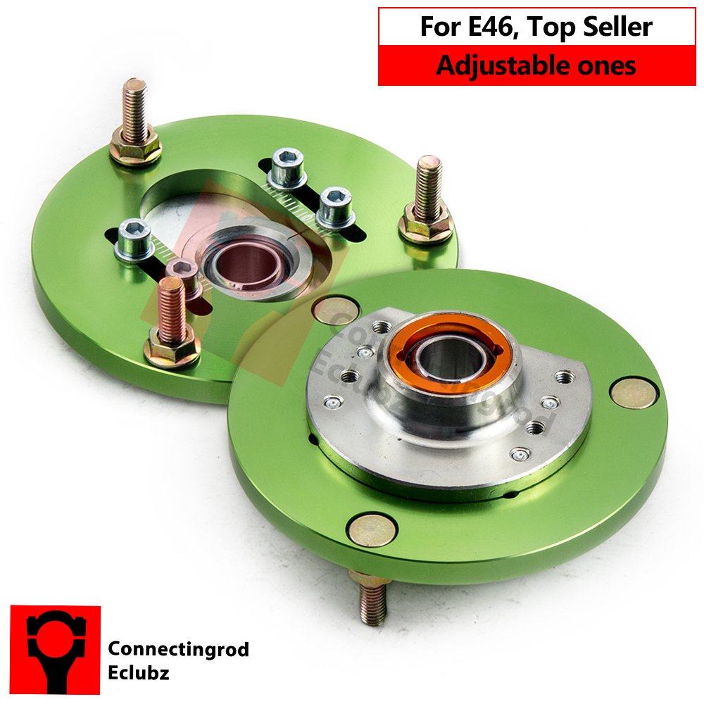 1pair Camber Plates For BMW E46 3 Series 320 323 325 328 M3 1998-2005 Front Coilover Top Upper Mount Hat Pillowball Green camber plates for bmw 3 series e46 320 323 325 328 m3 316 1998 2005 top mounts golden plates pillow ball golden