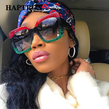 HAPTRON Oversized Square Sunglasses Women Brand Fashion Tricolor Sun Glasses Retro Green Red Black street style oculos de sol