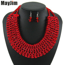 hot deal buy mayjim statement african beads crystal red necklace jewelry sets handmade silver chain bridal jewelry sets vintage fashion women